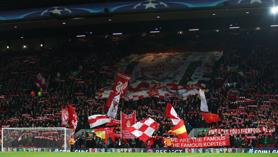 LIVERPOOL, ENGLAND - DECEMBER 06: General view inside the stadium during the UEFA Champions League group E match between Liverpool FC and Spartak Moskva at Anfield on December 6, 2017 in Liverpool, United Kingdom.  (Photo by Clive Brunskill/Getty Images)