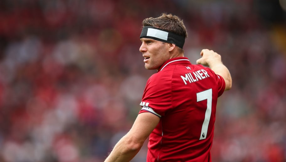 LIVERPOOL, ENGLAND - AUGUST 12: James Milner of Liverpool during the Premier League match between Liverpool FC and West Ham United at Anfield on August 12, 2018 in Liverpool, United Kingdom. (Photo by Robbie Jay Barratt - AMA/Getty Images)