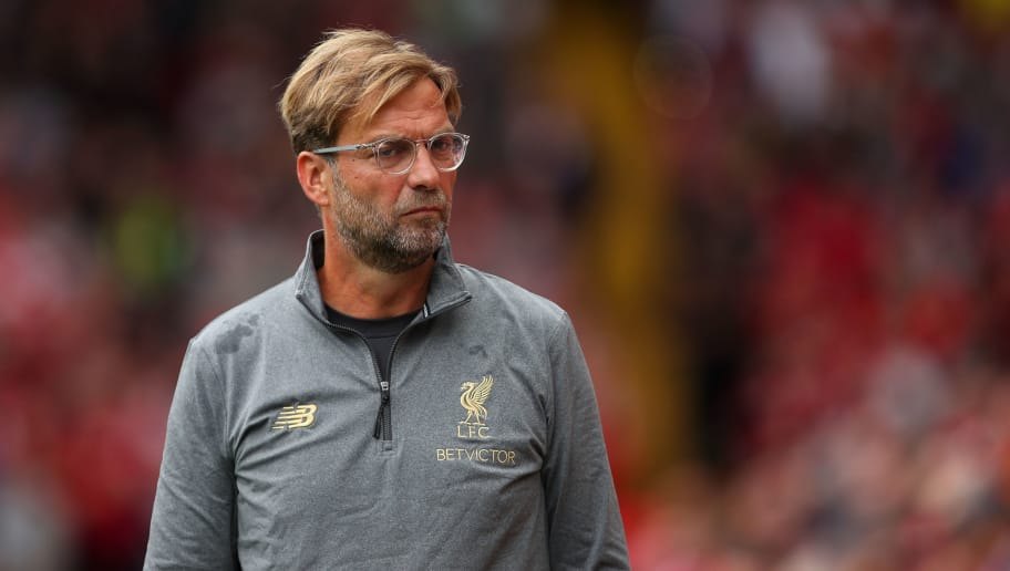 LIVERPOOL, ENGLAND - AUGUST 12: Jurgen Klopp manager / head coach of Liverpool during the Premier League match between Liverpool FC and West Ham United at Anfield on August 12, 2018 in Liverpool, United Kingdom. (Photo by Robbie Jay Barratt - AMA/Getty Images)