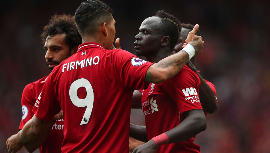 LIVERPOOL, ENGLAND - AUGUST 12: Sadio Mane of Liverpool celebrates after scoring a goal to make it 3-0 during the Premier League match between Liverpool FC and West Ham United at Anfield on August 12, 2018 in Liverpool, United Kingdom. (Photo by Robbie Jay Barratt - AMA/Getty Images)