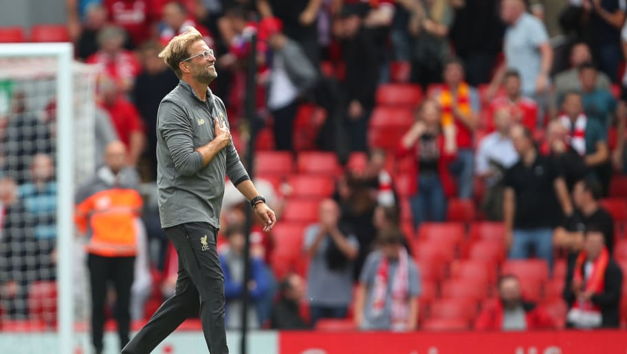 LIVERPOOL, ENGLAND - AUGUST 12: Jurgen Klopp manager / head coach of Liverpool celebrates at full time  during the Premier League match between Liverpool FC and West Ham United at Anfield on August 12, 2018 in Liverpool, United Kingdom. (Photo by Robbie Jay Barratt - AMA/Getty Images)