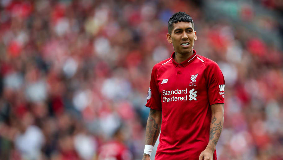 LIVERPOOL, ENGLAND - AUGUST 12: Roberto Firmino of Liverpool during the Premier League match between Liverpool FC and West Ham United at Anfield on August 12, 2018 in Liverpool, United Kingdom. (Photo by Robbie Jay Barratt - AMA/Getty Images)