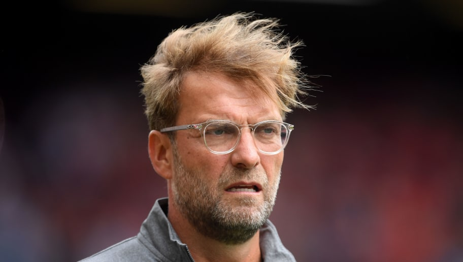 LIVERPOOL, ENGLAND - AUGUST 12:  Jurgen Klopp, Manager of Liverpool looks on prior to the Premier League match between Liverpool FC and West Ham United at Anfield on August 12, 2018 in Liverpool, United Kingdom.  (Photo by Laurence Griffiths/Getty Images)