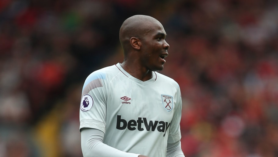 LIVERPOOL, ENGLAND - AUGUST 12: Angelo Ogbonna Obinze of West Ham United during the Premier League match between Liverpool FC and West Ham United at Anfield on August 12, 2018 in Liverpool, United Kingdom. (Photo by Robbie Jay Barratt - AMA/Getty Images)