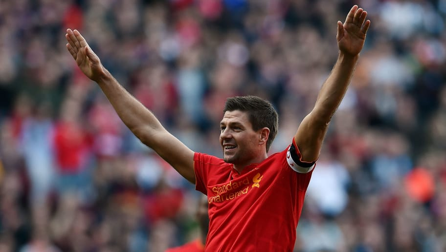 LIVERPOOL, ENGLAND - MARCH 25:  (THE SUN OUT, THE SUN ON SUNDAY OUT) Steven Gerrard of Liverpool Legends celebrates after scoring the winner during the LFC Foundation Charity Match between Liverpool Legends and Real Madrid Legends   at Anfield on March 25 in Liverpool, England.  (Photo by LFC Foundation/Getty Images)