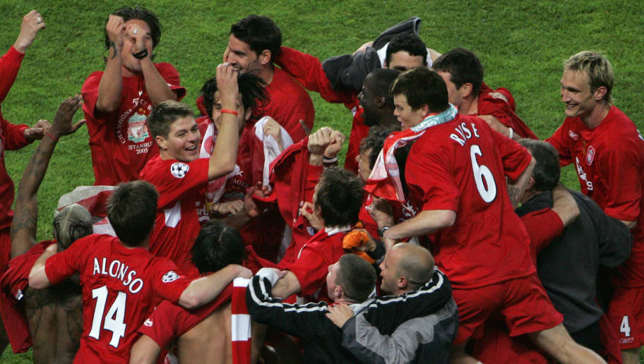 Istanbul, Turkey:  Liverpool players celebrate after winning on penalties at the UEFA Champions league football final AC Milan vs Liverpool, 25 May 2005 at the Ataturk Stadium in Istanbul. Liverpool won 3-2 on penalties.   AFP PHOTO FRANCOIS MARIT  (Photo credit should read AFP PHOTO FRANCOIS MARIT/AFP/Getty Images)