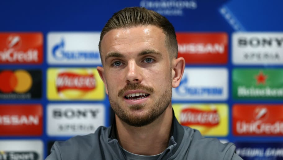 LIVERPOOL, ENGLAND - APRIL 23:  Jordan Henderson of Liverpool speaks with the media during a press conference at Anfield on April 23, 2018 in Liverpool, England.  (Photo by Jan Kruger/Getty Images)