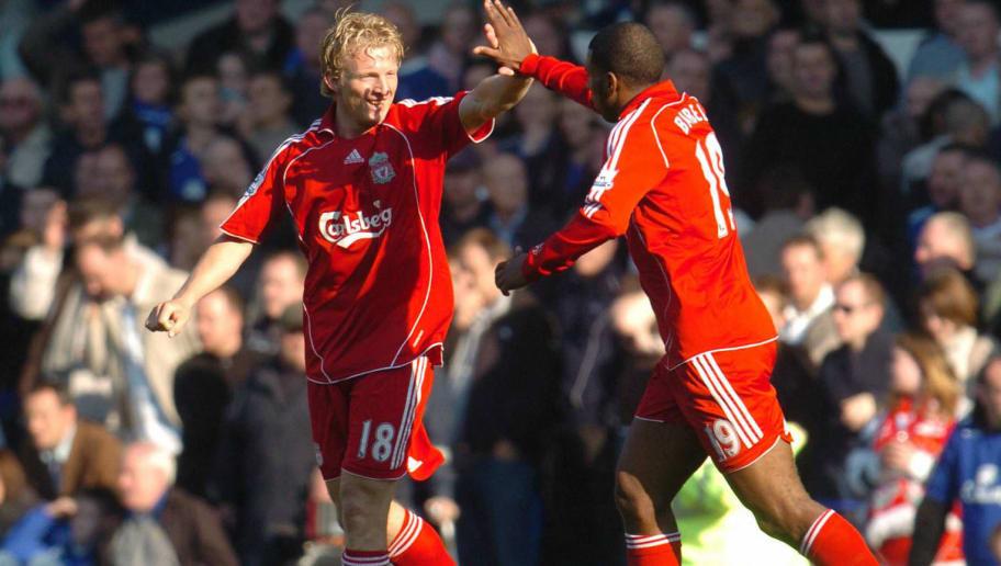Liverpool's Dirk Kuyt (L) celebrates wit