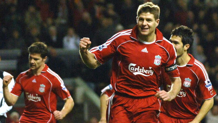 Liverpool, UNITED KINGDOM:  Liverpool's Steven Gerrard celebrates after scoring against Fulham during their Premiership match at Anfield in Liverpool, 09 December 2006. AFP PHOTO Paul Barker  (Photo credit should read PAUL BARKER/AFP/Getty Images)
