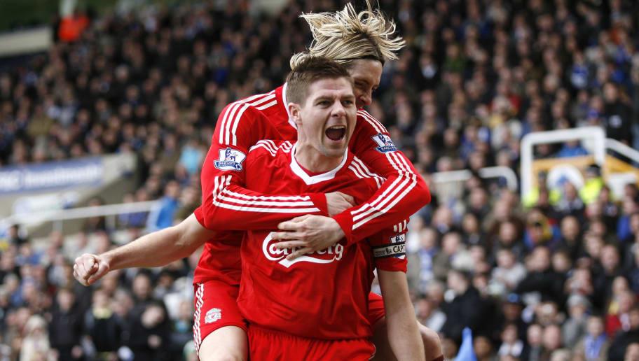 Liverpool's Steven Gerrard (front) celeb