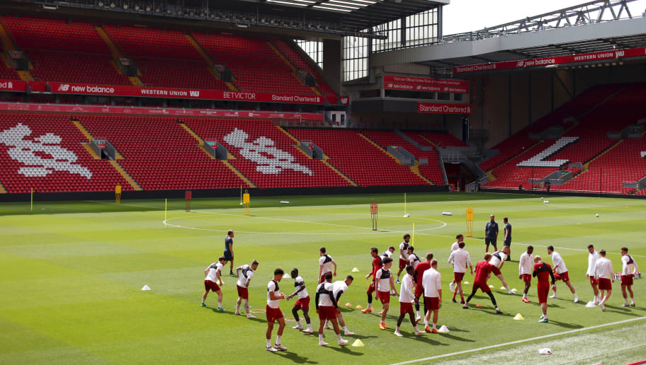 LIVERPOOL, ENGLAND - MAY 21:  A general view inside the stadium as Liverpool players warm up, during a training session at Anfield on May 21, 2018 in Liverpool, England.  (Photo by Jan Kruger/Getty Images)