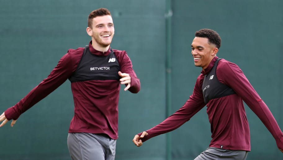 LIVERPOOL, ENGLAND - SEPTEMBER 17:  Andy Robertson of Liverpool (L) and Trent Alexander-Arnold of Liverpool take part during a Liverpool training session at Melwood Training Ground on September 17, 2018 in Liverpool, England.  (Photo by Mark Robinson/Getty Images)