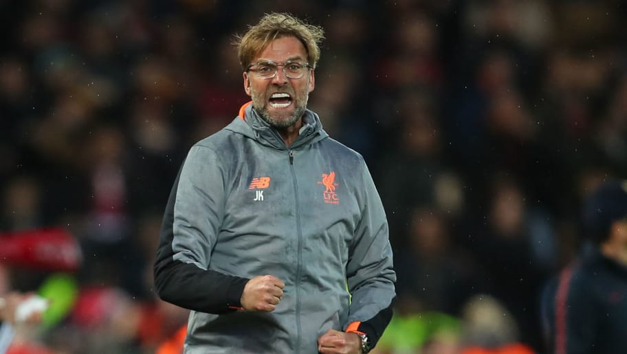 LIVERPOOL, ENGLAND - APRIL 24: Jurgen Klopp manager / head coach of Liverpool celebrates the first goal during the UEFA Champions League Semi Final First Leg match between Liverpool and A.S. Roma at Anfield on April 24, 2018 in Liverpool, United Kingdom. (Photo by Robbie Jay Barratt - AMA/Getty Images)