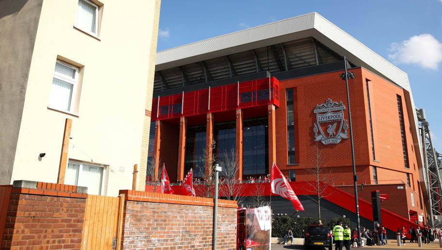 LIVERPOOL, ENGLAND - APRIL 14:  General view outside the stadium prior to the Premier League match between Liverpool and AFC Bournemouth at Anfield on April 14, 2018 in Liverpool, England.  (Photo by Clive Brunskill/Getty Images)