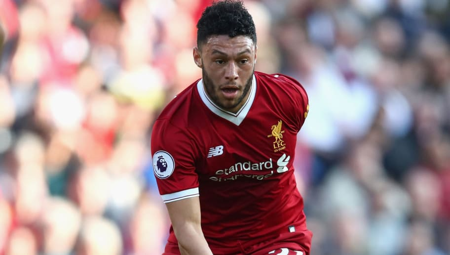 LIVERPOOL, ENGLAND - APRIL 14: Alex Oxlade-Chamberlain of Liverpool in action during the Premier League match between Liverpool and AFC Bournemouth at Anfield on April 14, 2018 in Liverpool, England.  (Photo by Clive Brunskill/Getty Images)
