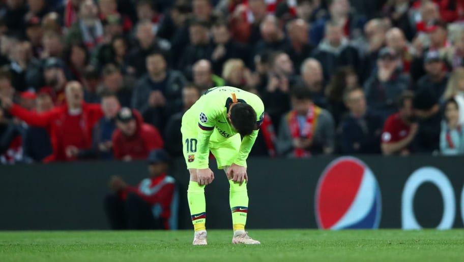 Lionel Messi left Anfield in tears following Barcelona's drubbing by Liverpool