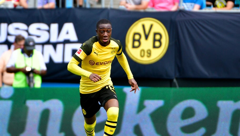 CHARLOTTE, NC - JULY 22:  Denzeil Boadu #43 of Borussia Dortmund advances the ball against Liverpool during an International Champions Cup game at Bank of America Stadium on July 22, 2018 in Charlotte, North Carolina.  (Photo by Grant Halverson/International Champions Cup/Getty Images)