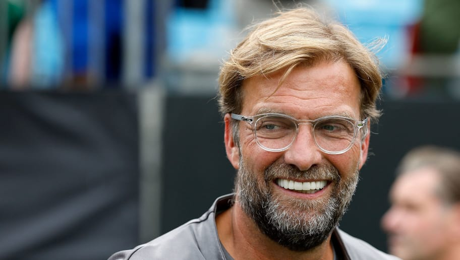 CHARLOTTE, NC - JULY 22:  Jurgen Klopp Liverpool coach on the sidelines against Borussia Dortmund during an International Champions Cup match at Bank of America Stadium on July 22, 2018 in Charlotte, North Carolina.  (Photo by Bob Leverone/Getty Images)