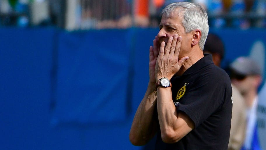 CHARLOTTE, NC - JULY 22:  Coach Lucien Favre directs his team against Liverpool during an International Champions Cup game at Bank of America Stadium on July 22, 2018 in Charlotte, North Carolina.  (Photo by Grant Halverson/International Champions Cup/Getty Images)