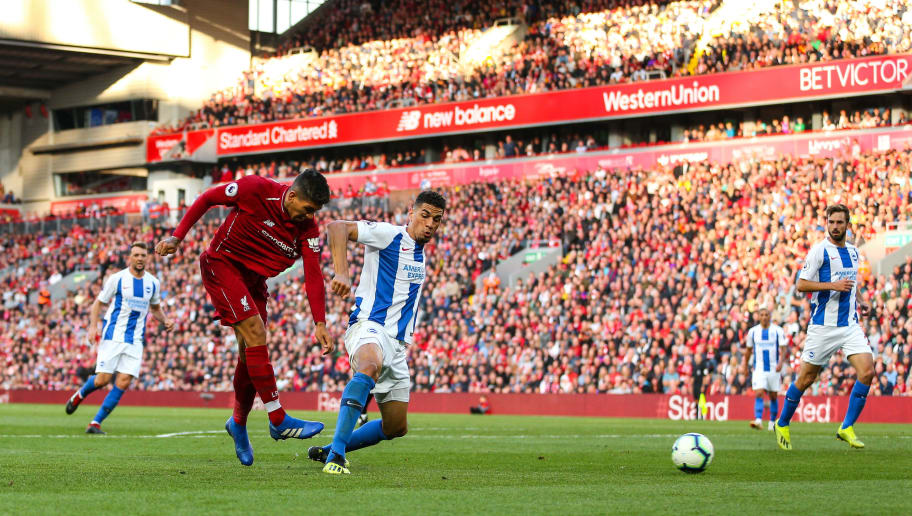 LIVERPOOL, ENGLAND - AUGUST 25: Roberto Firmino of Liverpool during the Premier League match between Liverpool FC and Brighton & Hove Albion at Anfield on August 25, 2018 in Liverpool, United Kingdom. (Photo by Robbie Jay Barratt - AMA/Getty Images)