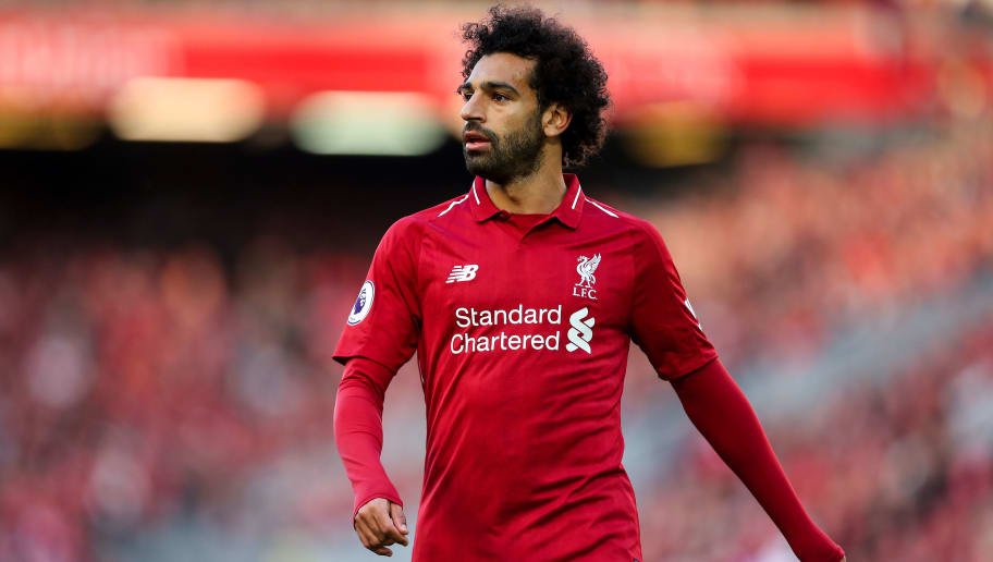 LIVERPOOL, ENGLAND - AUGUST 25: Mohamed Salah of Liverpool during the Premier League match between Liverpool FC and Brighton & Hove Albion at Anfield on August 25, 2018 in Liverpool, United Kingdom. (Photo by Robbie Jay Barratt - AMA/Getty Images)