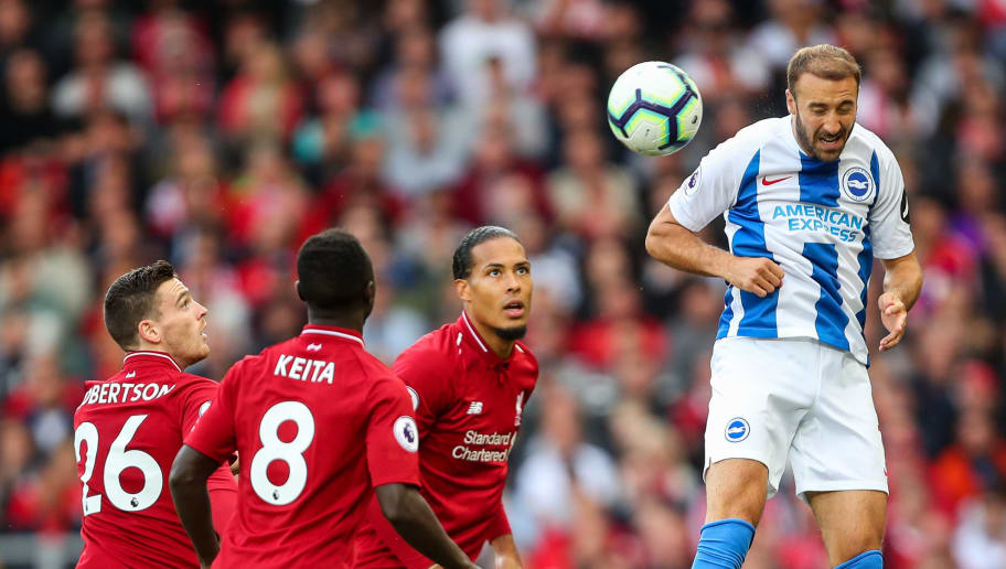 LIVERPOOL, ENGLAND - AUGUST 25: Glenn Murray of Brighton and Hove Albion during the Premier League match between Liverpool FC and Brighton & Hove Albion at Anfield on August 25, 2018 in Liverpool, United Kingdom. (Photo by Robbie Jay Barratt - AMA/Getty Images)