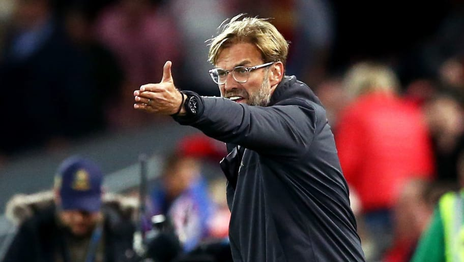 LIVERPOOL, ENGLAND - SEPTEMBER 26:  Jurgen Klopp, Manager of Liverpool gives his team instructions during the Carabao Cup Third Round match between Liverpool and Chelsea at Anfield on September 26, 2018 in Liverpool, England.  (Photo by Jan Kruger/Getty Images)
