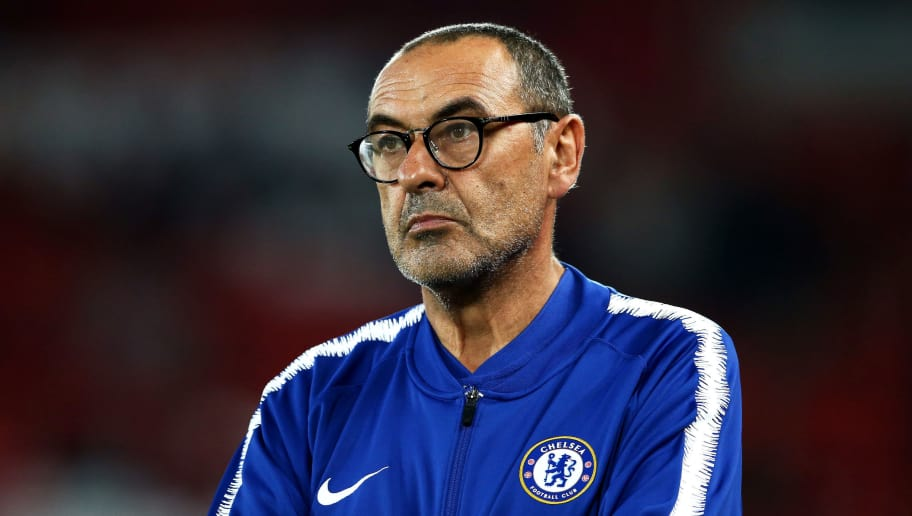 LIVERPOOL, ENGLAND - SEPTEMBER 26:  Maurizio Sarri, Manager of Chelsea looks on ahead of the Carabao Cup Third Round match between Liverpool and Chelsea at Anfield on September 26, 2018 in Liverpool, England.  (Photo by Jan Kruger/Getty Images)