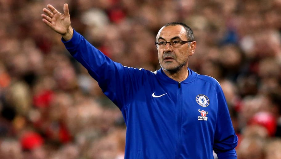 LIVERPOOL, ENGLAND - SEPTEMBER 26:  Maurizio Sarri, Manager of Chelsea gives instruction to his team during the Carabao Cup Third Round match between Liverpool and Chelsea at Anfield on September 26, 2018 in Liverpool, England.  (Photo by Jan Kruger/Getty Images)