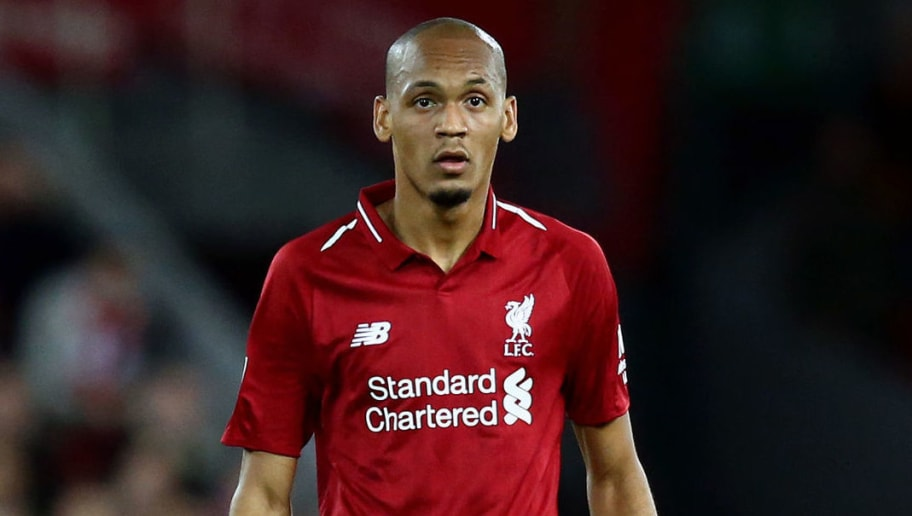 LIVERPOOL, ENGLAND - SEPTEMBER 26:  Fabinho of Liverpool looks on during the Carabao Cup Third Round match between Liverpool and Chelsea at Anfield on September 26, 2018 in Liverpool, England.  (Photo by Jan Kruger/Getty Images)