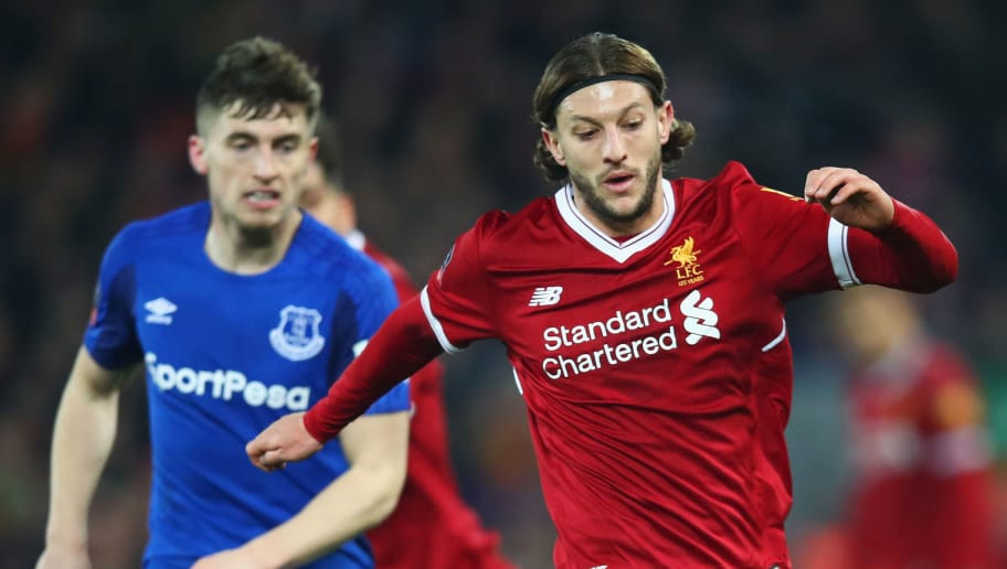 LIVERPOOL, ENGLAND - JANUARY 05:  Adam Lallana of Liverpool is watched by Jonjoe Kenny of Everton during the Emirates FA Cup Third Round match between Liverpool and Everton at Anfield on January 5, 2018 in Liverpool, England.  (Photo by Clive Brunskill/Getty Images)