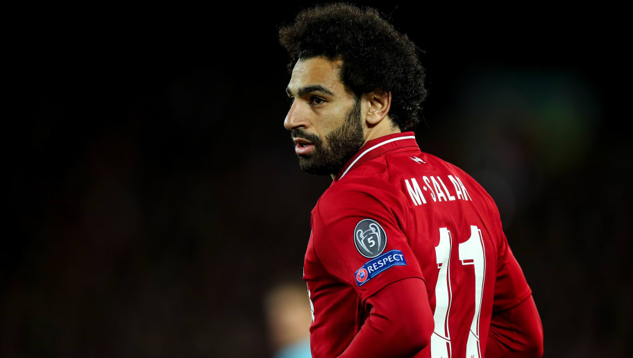 LIVERPOOL, ENGLAND - OCTOBER 24: Mohamed Salah of Liverpool during the Group C match of the UEFA Champions League between Liverpool and FK Crvena Zvezda at Anfield on October 24, 2018 in Liverpool, United Kingdom. (Photo by Robbie Jay Barratt - AMA/Getty Images)