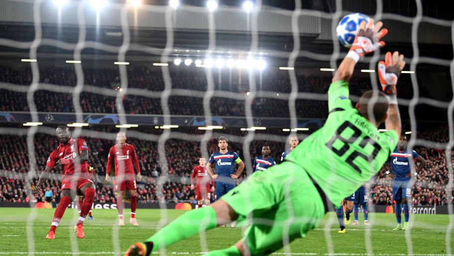 LIVERPOOL, ENGLAND - OCTOBER 24:  Milan Borjan of FK Crvena Zvezda saves a penalty from Sadio Mane of Liverpool during the Group C match of the UEFA Champions League between Liverpool and FK Crvena Zvezda at Anfield on October 24, 2018 in Liverpool, United Kingdom.  (Photo by Michael Regan/Getty Images)
