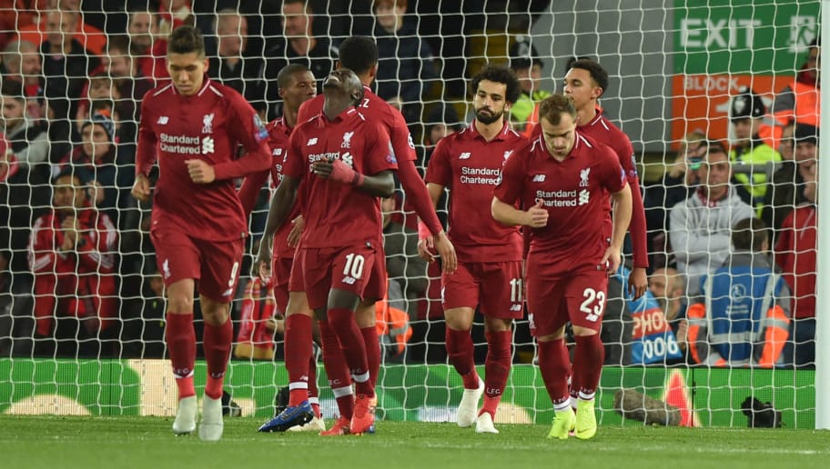LIVERPOOL, ENGLAND - OCTOBER 24: Mohamed Salah of Liverpool celebrates his goal with team mates during the UEFA Champions League Group C match between Liverpool and FK Crvena Zvezda at Anfield on October 24, 2018 in Liverpool, United Kingdom. (Photo by TF-Images/Getty Images)