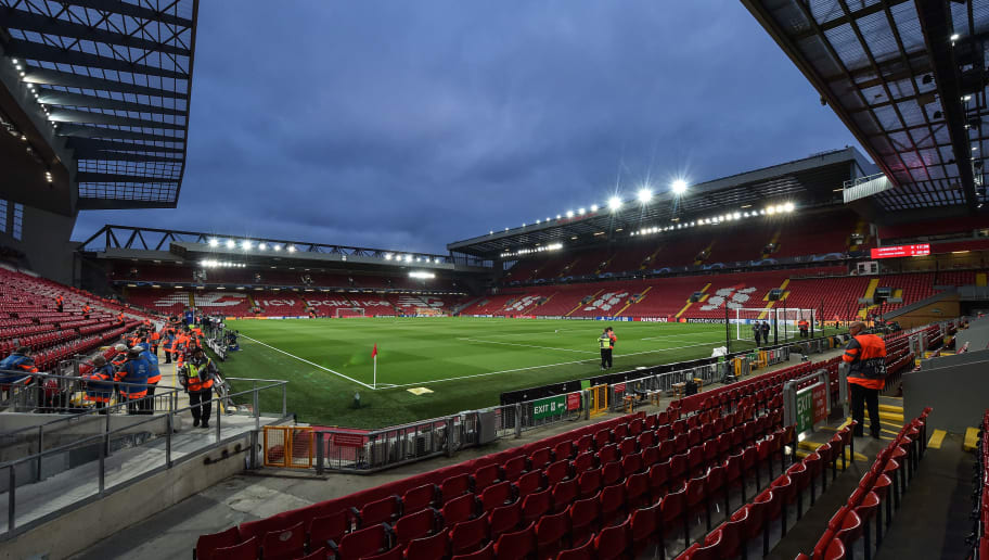 LIVERPOOL, ENGLAND - OCTOBER 24: A general view inside Anfield Stadium prior the UEFA Champions League Group C match between Liverpool and FK Crvena Zvezda at Anfield on October 24, 2018 in Liverpool, United Kingdom. (Photo by TF-Images/Getty Images)