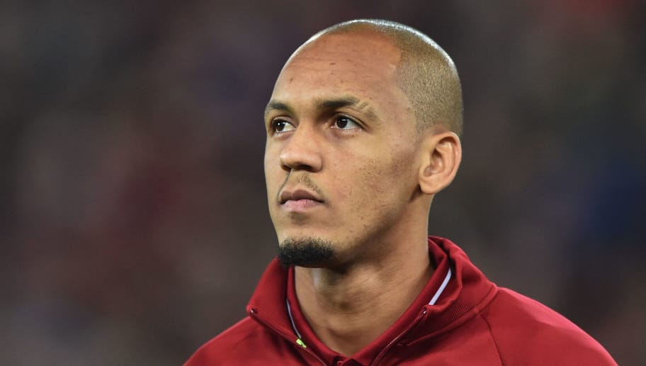 LIVERPOOL, ENGLAND - OCTOBER 24: Fabinho of Liverpool looks on prior the UEFA Champions League Group C match between Liverpool and FK Crvena Zvezda at Anfield on October 24, 2018 in Liverpool, United Kingdom. (Photo by TF-Images/Getty Images)