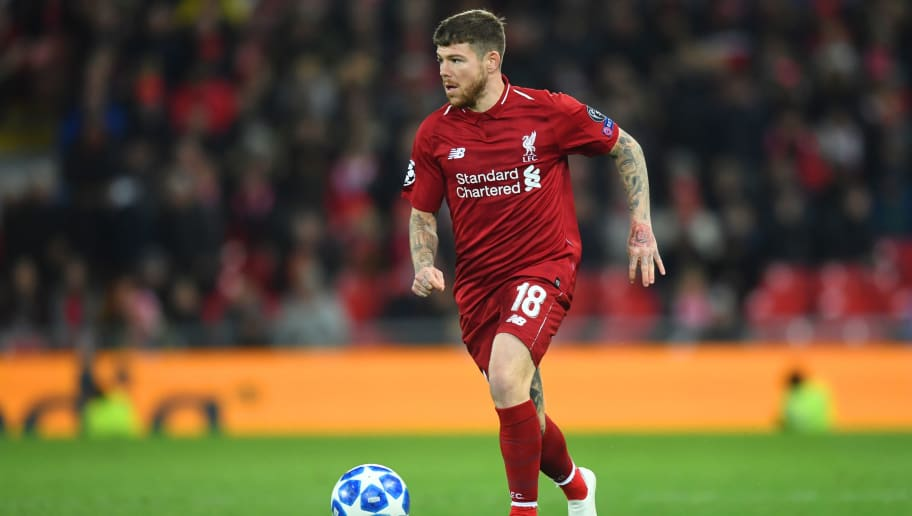 LIVERPOOL, ENGLAND - OCTOBER 24:  Alberto Moreno of Liverpool in action during the Group C match of the UEFA Champions League between Liverpool and FK Crvena Zvezda at Anfield on October 24, 2018 in Liverpool, United Kingdom.  (Photo by Michael Regan/Getty Images)