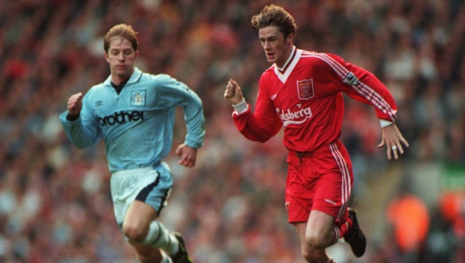 28 OCT 1995:  STEVE MCMANAMAN OF LIVERPOOL IN ACTION DURING THE LIVERPOOL V MANCHESTER CITY FA PREMIERSHIP MATCH AT ANFIELD, LIVERPOOL. Mandatory Credit: Phil Cole/ALLSPORT