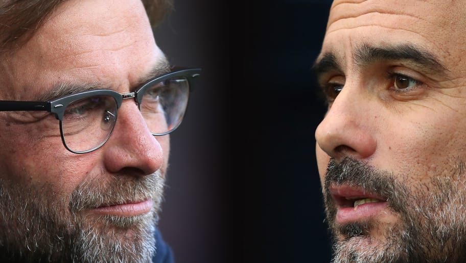 FILE PHOTO (EDITORS NOTE: GRADIENT ADDED - COMPOSITE OF TWO IMAGES - Image numbers (L) 531578890 and 899524772) In this composite image a comparison has been made between Jurgen Klopp, Manager of Liverpool (L) and Manchester City manager Josep Guardiola. Liverpool and Manchester City have been drawn together in the Champions League Quarter Finals of the 2017/18 season.   ***LEFT IMAGE*** WEST BROMWICH, ENGLAND - MAY 15: Jurgen Klopp, manager of Liverpool looks on during the Barclays Premier League match between West Bromwich Albion and Liverpool at The Hawthorns on May 15, 2016 in West Bromwich, England. (Photo by Ben Hoskins/Getty Images) ***RIGHT IMAGE*** MANCHESTER, ENGLAND - DECEMBER 23: Manchester City manager Josep Guardiola looks on during the Premier League match between Manchester City and AFC Bournemouth at Etihad Stadium on December 23, 2017 in Manchester, England. (Photo by Clive Brunskill/Getty Images)
