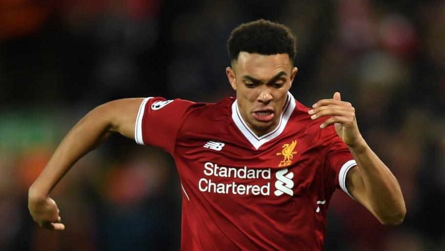 LIVERPOOL, ENGLAND - APRIL 04:  Trent Alexander-Arnold of Liverpool runs with the ball during the UEFA Champions League Quarter Final Leg One match between Liverpool and Manchester City at Anfield on April 4, 2018 in Liverpool, England.  (Photo by Shaun Botterill/Getty Images)