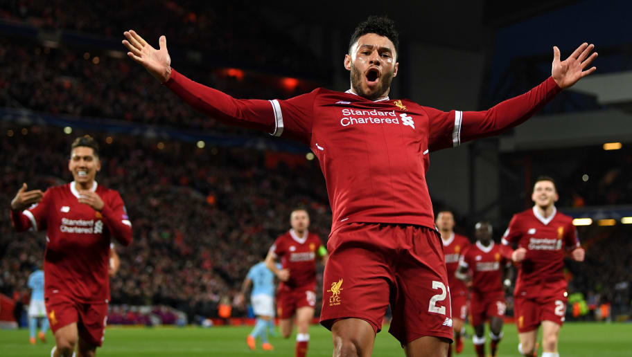 LIVERPOOL, ENGLAND - APRIL 04:  Alex Oxlade-Chamberlain of Liverpool celebrates after scoring his sides second goal during the UEFA Champions League Quarter Final Leg One match between Liverpool and Manchester City at Anfield on April 4, 2018 in Liverpool, England.  (Photo by Shaun Botterill/Getty Images)