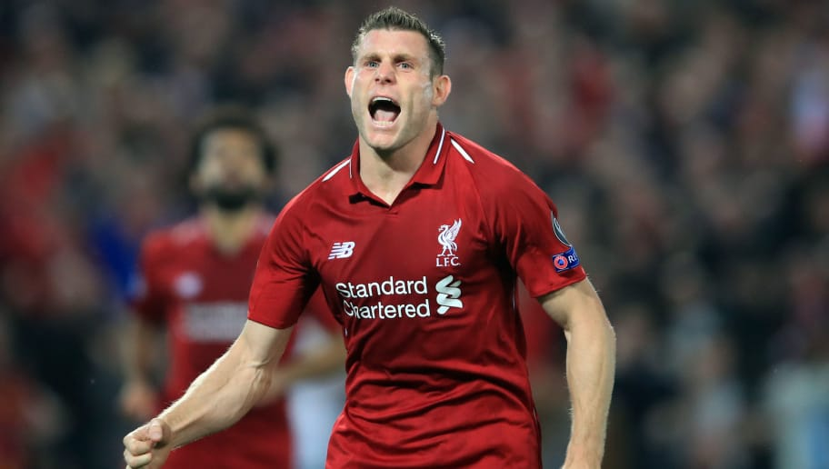 LIVERPOOL, ENGLAND - SEPTEMBER 18:  James Milner of Liverpool celebrates scoring their 2nd goal during the Group C match of the UEFA Champions League between Liverpool and Paris Saint-Germain at Anfield on September 18, 2018 in Liverpool, United Kingdom. (Photo by Marc Atkins/Getty Images)