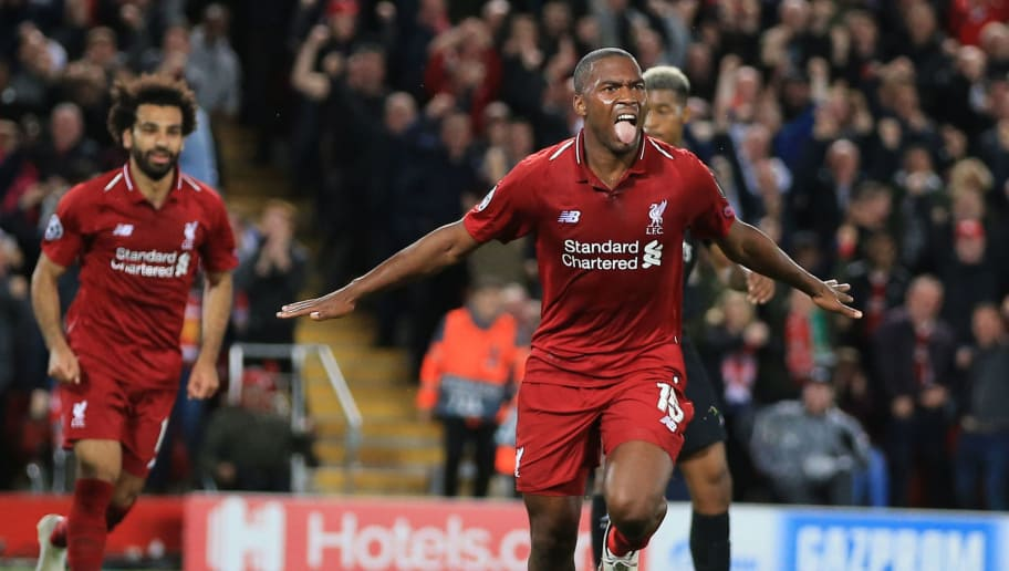LIVERPOOL, ENGLAND - SEPTEMBER 18:  Daniel Sturridge of Liverpool celebrates scoring their 1at goal during the Group C match of the UEFA Champions League between Liverpool and Paris Saint-Germain at Anfield on September 18, 2018 in Liverpool, United Kingdom. (Photo by Marc Atkins/Getty Images)