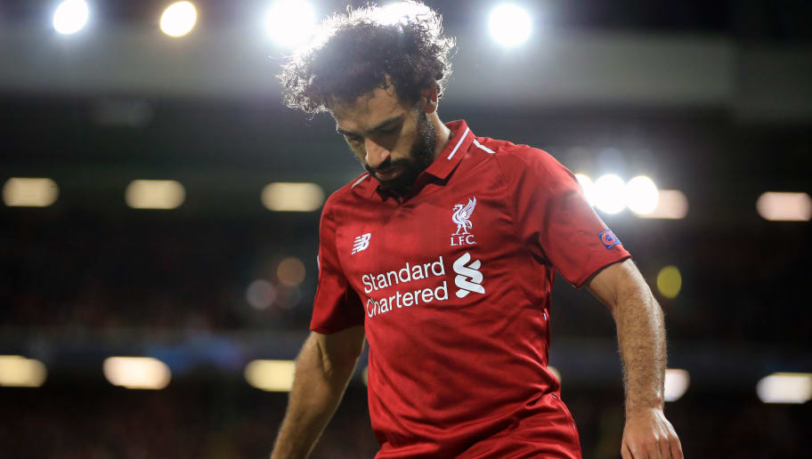 LIVERPOOL, ENGLAND - SEPTEMBER 18:  Mohamed Salah of Liverpool during the Group C match of the UEFA Champions League between Liverpool and Paris Saint-Germain at Anfield on September 18, 2018 in Liverpool, United Kingdom. (Photo by Marc Atkins/Getty Images)