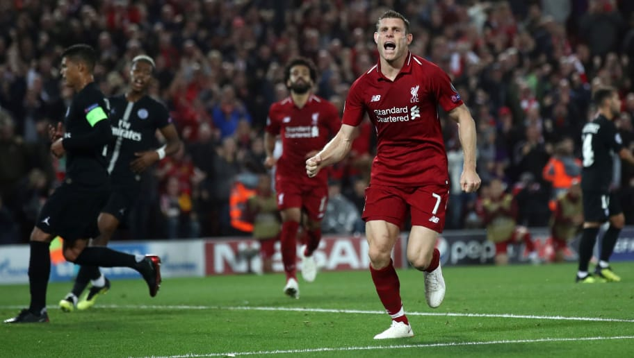 LIVERPOOL, ENGLAND - SEPTEMBER 18:  James Milner of Liverpool celebrates after scoring his team's second goal during the Group C match of the UEFA Champions League between Liverpool and Paris Saint-Germain at Anfield on September 18, 2018 in Liverpool, United Kingdom.  (Photo by Julian Finney/Getty Images)