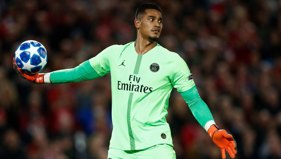 LIVERPOOL, ENGLAND - SEPTEMBER 18:  Goalkeeper, Alphonse Areola of PSG throws the ball out during the Group C match of the UEFA Champions League between Liverpool and Paris Saint-Germain at Anfield on September 18, 2018 in Liverpool, United Kingdom.  (Photo by Julian Finney/Getty Images)