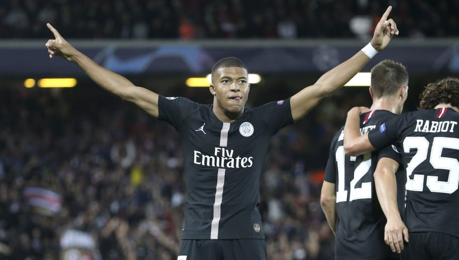 LIVERPOOL, ENGLAND - SEPTEMBER 18: Kylian Mbappe of PSG celebrates his goal during the Group C match of the UEFA Champions League between Liverpool FC and Paris Saint-Germain (PSG) at Anfield on September 18, 2018 in Liverpool, United Kingdom. (Photo by Jean Catuffe/Getty Images)