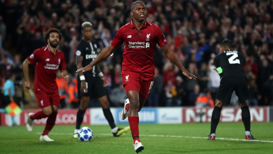 LIVERPOOL, ENGLAND - SEPTEMBER 18:  Daniel Sturridge of Liverpool celebrates as he scores his team's first goal  during the Group C match of the UEFA Champions League between Liverpool and Paris Saint-Germain at Anfield on September 18, 2018 in Liverpool, United Kingdom.  (Photo by Julian Finney/Getty Images)