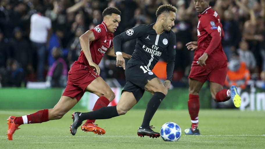 LIVERPOOL, ENGLAND - SEPTEMBER 18: Neymar Jr of PSG, Trent Alexander-Arnold of Liverpool (left) during the Group C match of the UEFA Champions League between Liverpool FC and Paris Saint-Germain (PSG) at Anfield on September 18, 2018 in Liverpool, United Kingdom. (Photo by Jean Catuffe/Getty Images)
