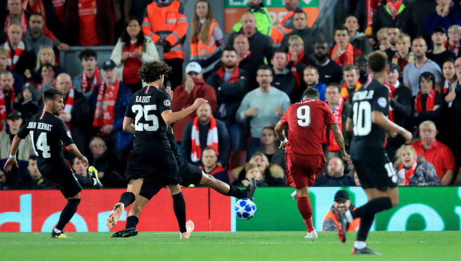 LIVERPOOL, ENGLAND - SEPTEMBER 18:  Roberto Firmino of Liverpool scores the winning goal during the Group C match of the UEFA Champions League between Liverpool and Paris Saint-Germain at Anfield on September 18, 2018 in Liverpool, United Kingdom. (Photo by Marc Atkins/Getty Images)